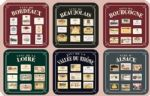 Wines of France Set 6 French Vintage Style Coasters Drinks Holder Mat Gift 70137